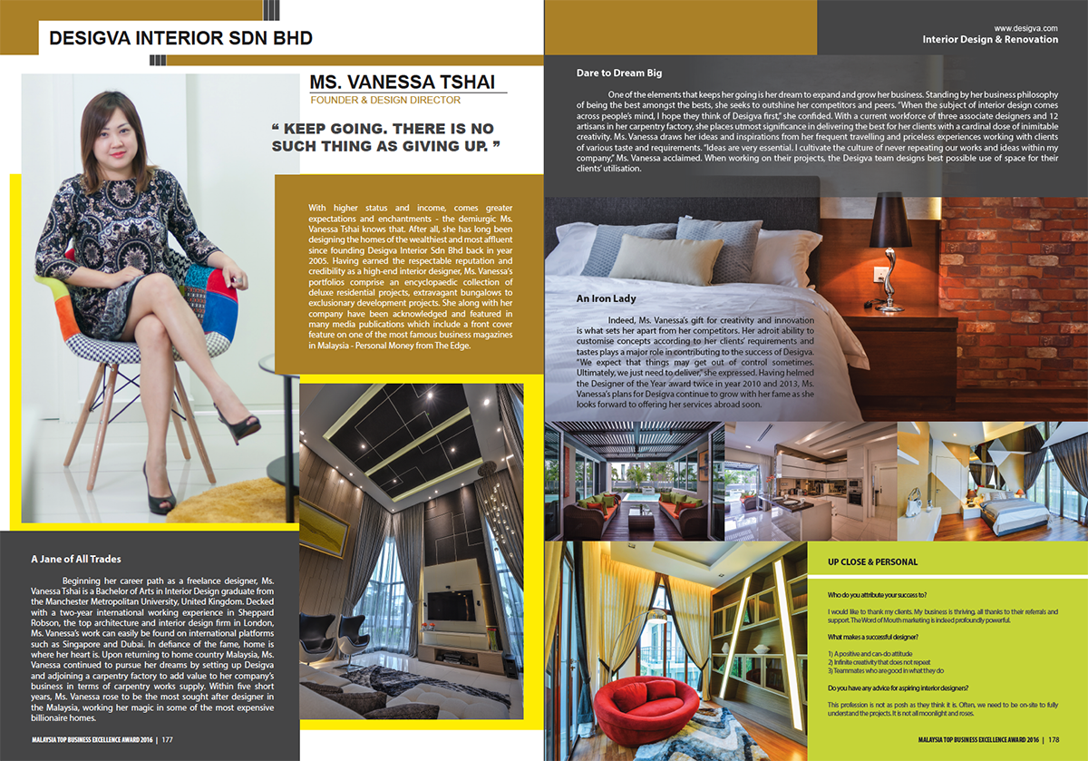 Malaysia top business excellence award in 2016 top for Malaysia interior design company list
